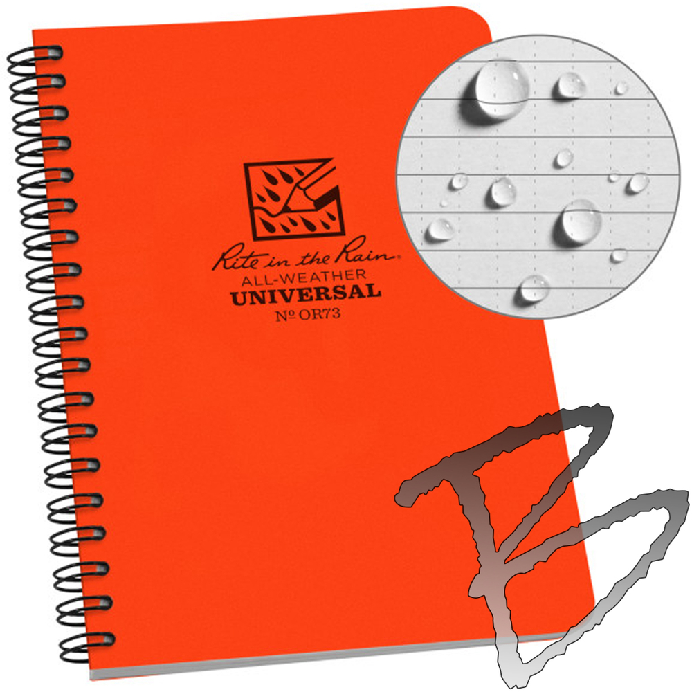 4 5//8 x 7 No. 773 Universal Pattern Rite in the Rain All-Weather Side-Spiral Notebook Black Cover