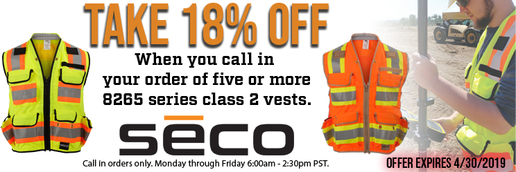 Save 18% when you buy five or more 8265 series vests from Seco
