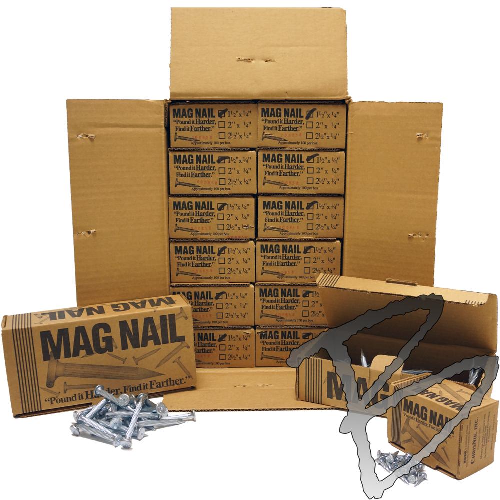 "box of 100 PK MagNail 1//4/"" x 2 1//2/"" Surveyor Nail"