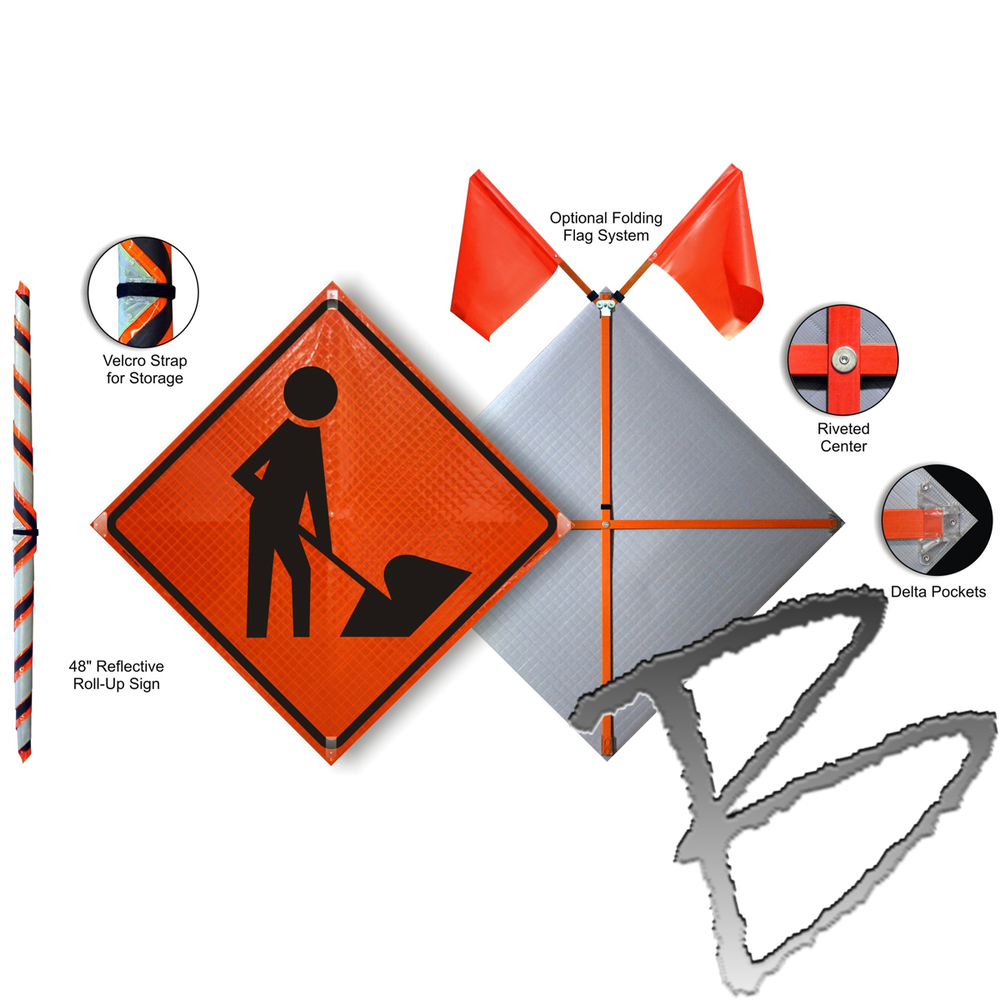 Roll Up Road Sign 36 Quot With Dynaflex Base