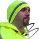 Image Dicke Safety Products Hi-Viz Beanie Skull Cap, Lime w/ Stripe