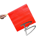 Image Dicke Safety Products Traffic Flag, Vinyl with a Wooden Staff