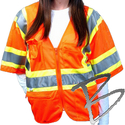 Image Dicke Safety Products Class 3 Orange Mesh Triple Trim Safety Vest