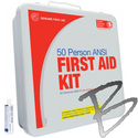 Image Genuine First Aid 50 Person Basic Metal, 2009 ANSI/OSHA, w/ Eyewash