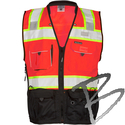 Image Kishigo Black Series Surveyors Vest, Flo Red