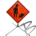 Image Dicke Safety Products Super Bright Reflective Roll-Up Road Signs, Complete