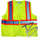 Image Dicke Safety Products Class 2 Lime Solid Front, Mesh Back Vest